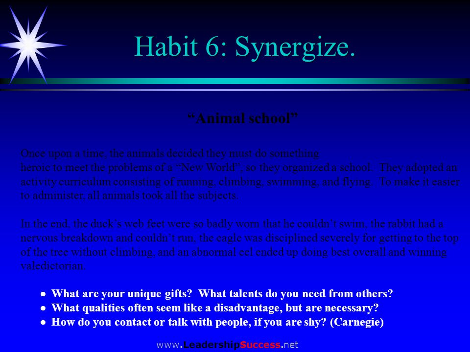 Habit 6: Synergize. Animal school