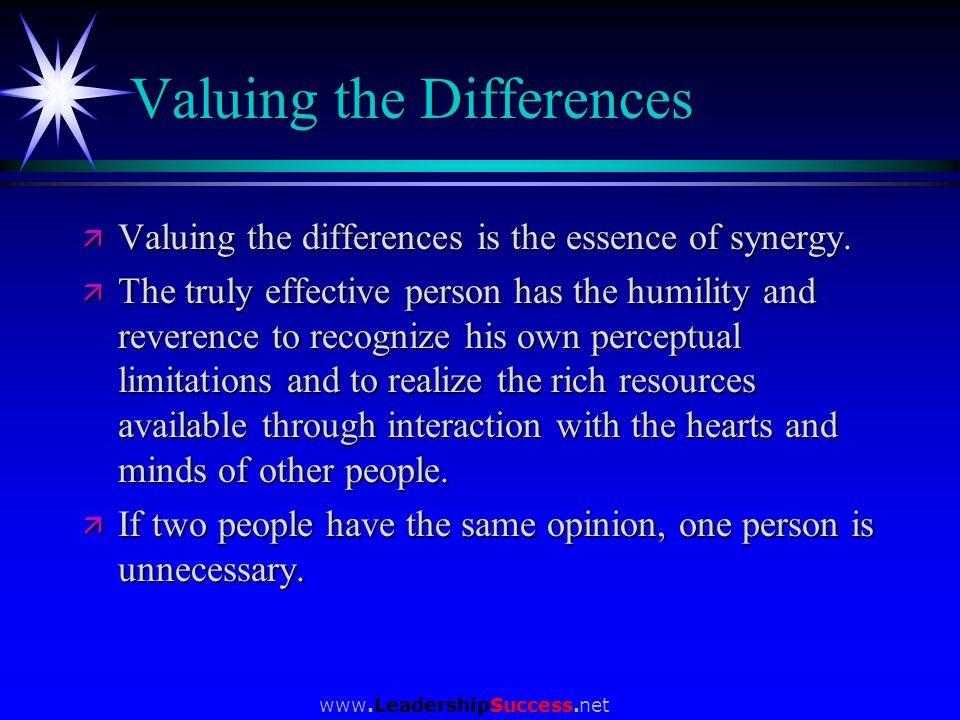 Valuing the Differences