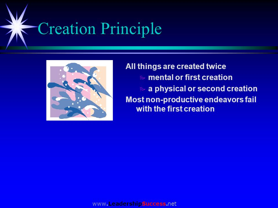 Creation Principle All things are created twice