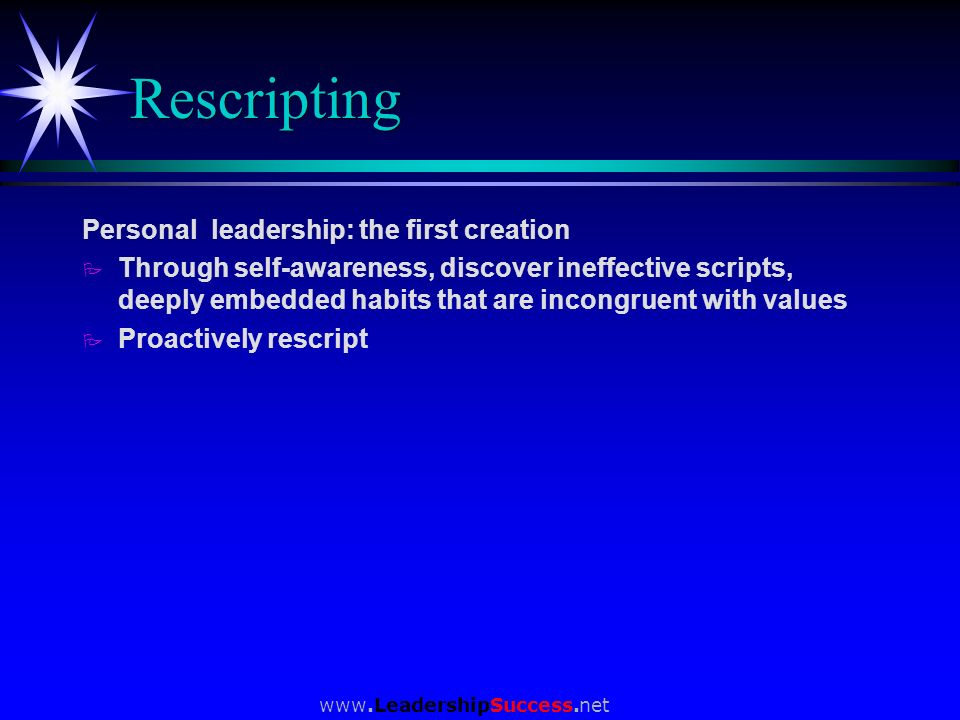Rescripting Personal leadership: the first creation
