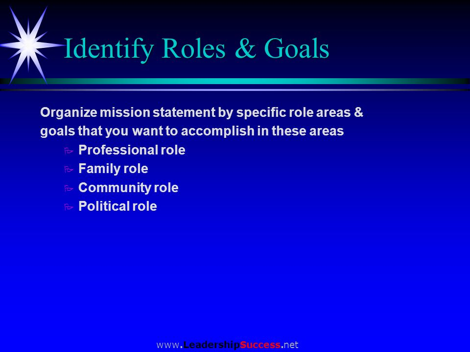Identify Roles & Goals Organize mission statement by specific role areas & goals that you want to accomplish in these areas.