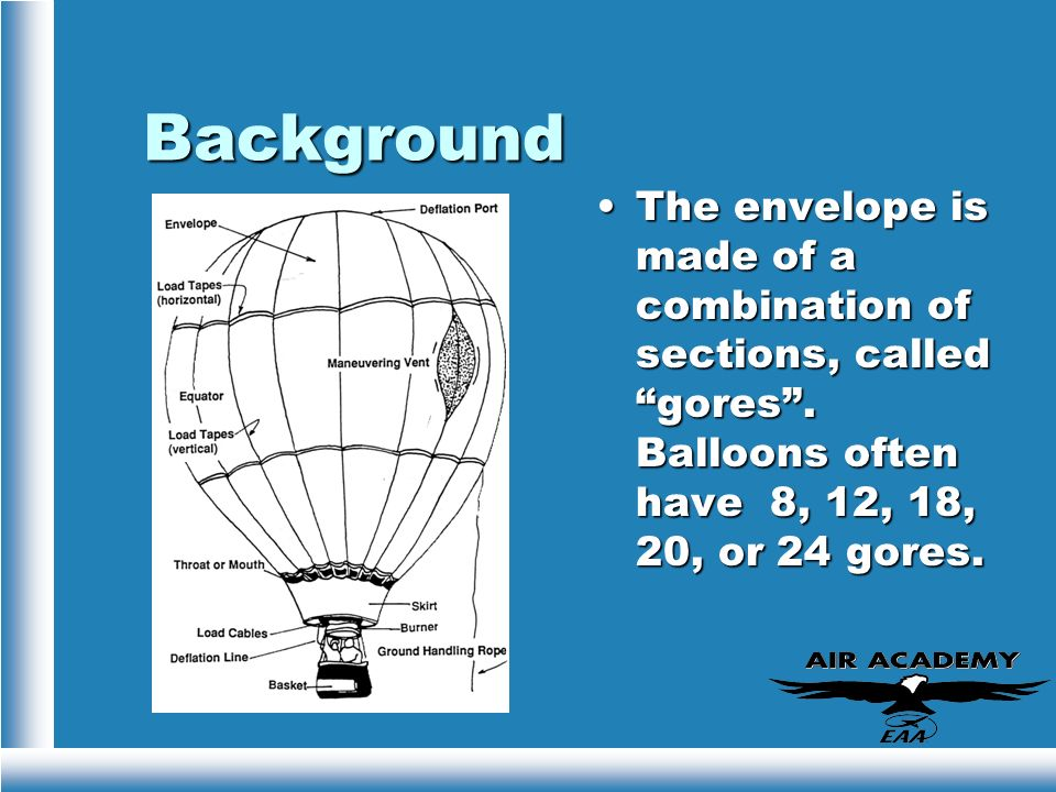 BackgroundThe envelope is made of a combination of sections, called gores .