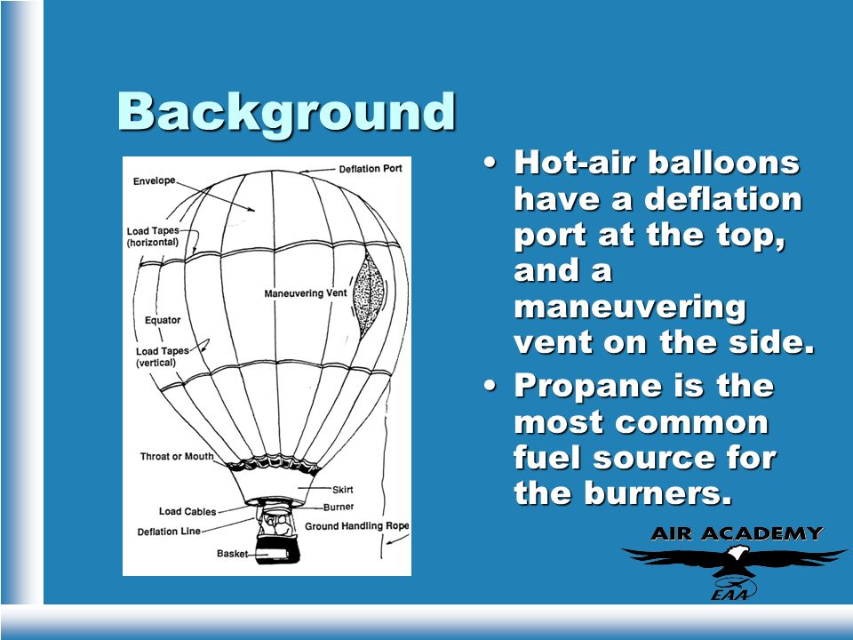 BackgroundHot-air balloons have a deflation port at the top, and a maneuvering vent on the side.