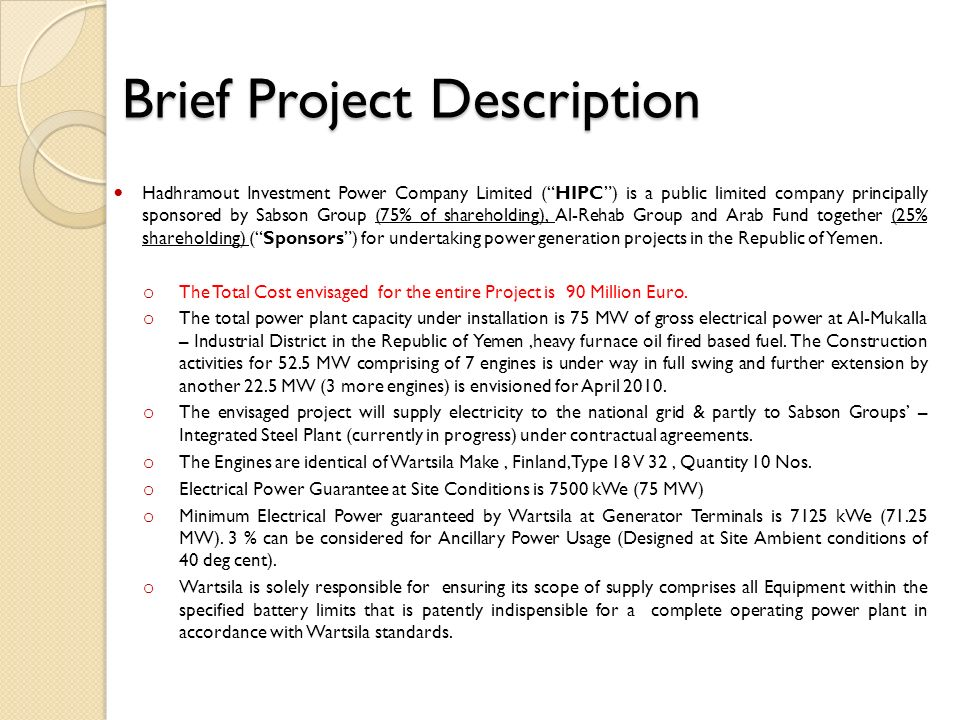 Brief Project Description