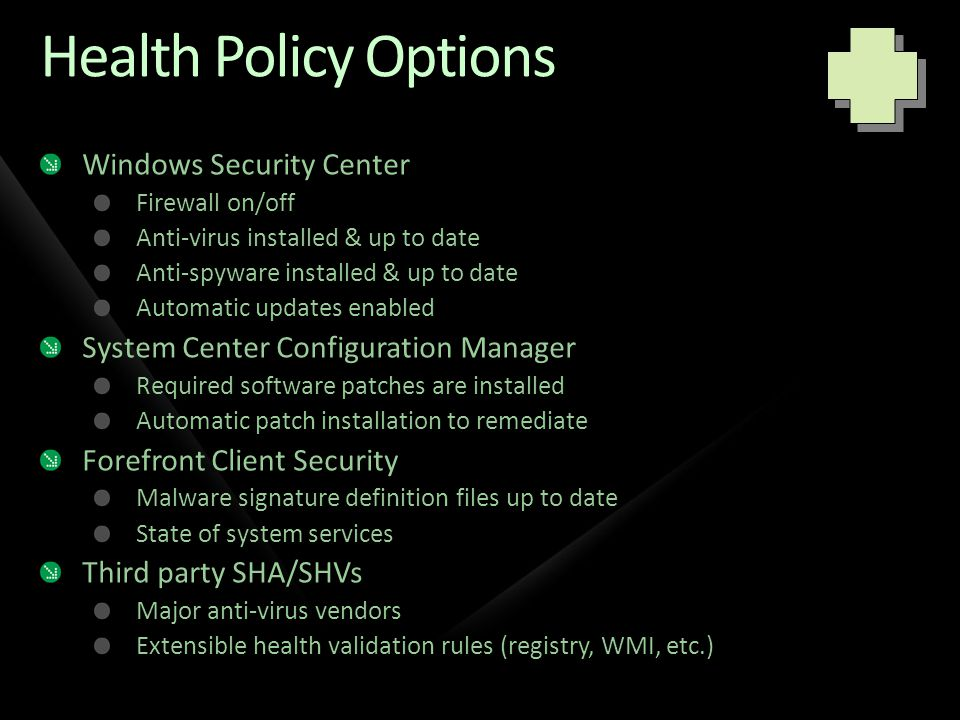 Health Policy Options Windows Security Center