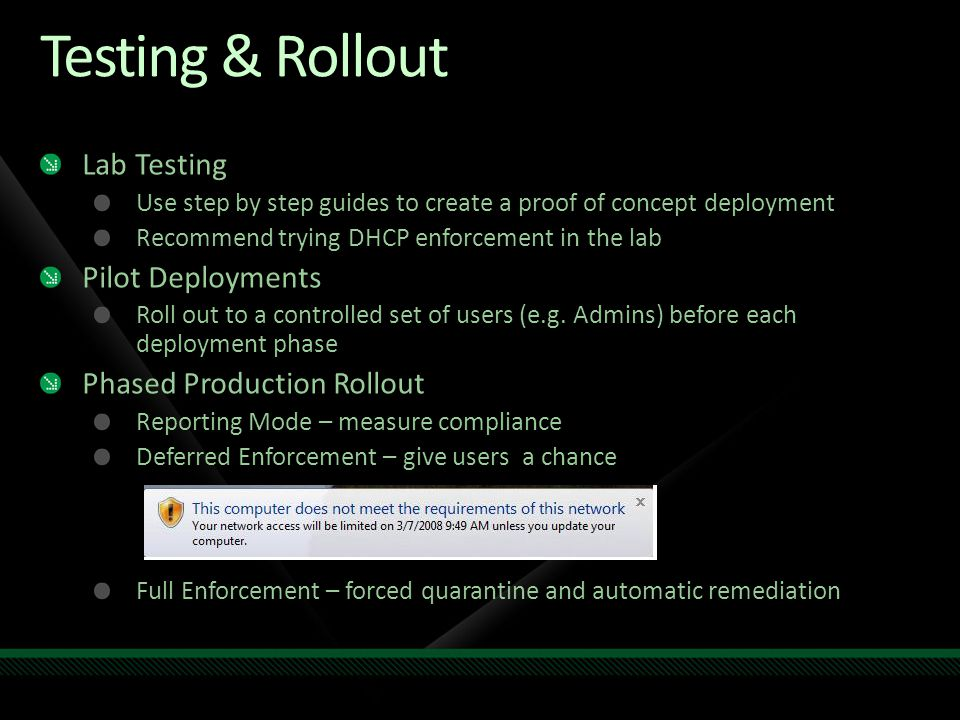 Testing & Rollout Lab Testing Pilot Deployments