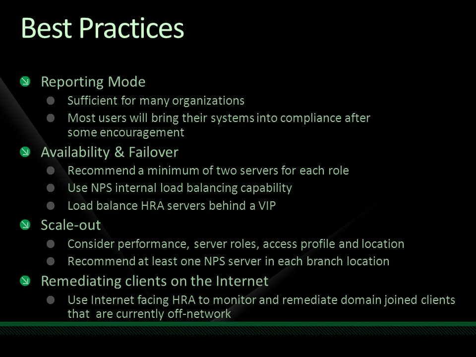 Best Practices Reporting Mode Availability & Failover Scale-out