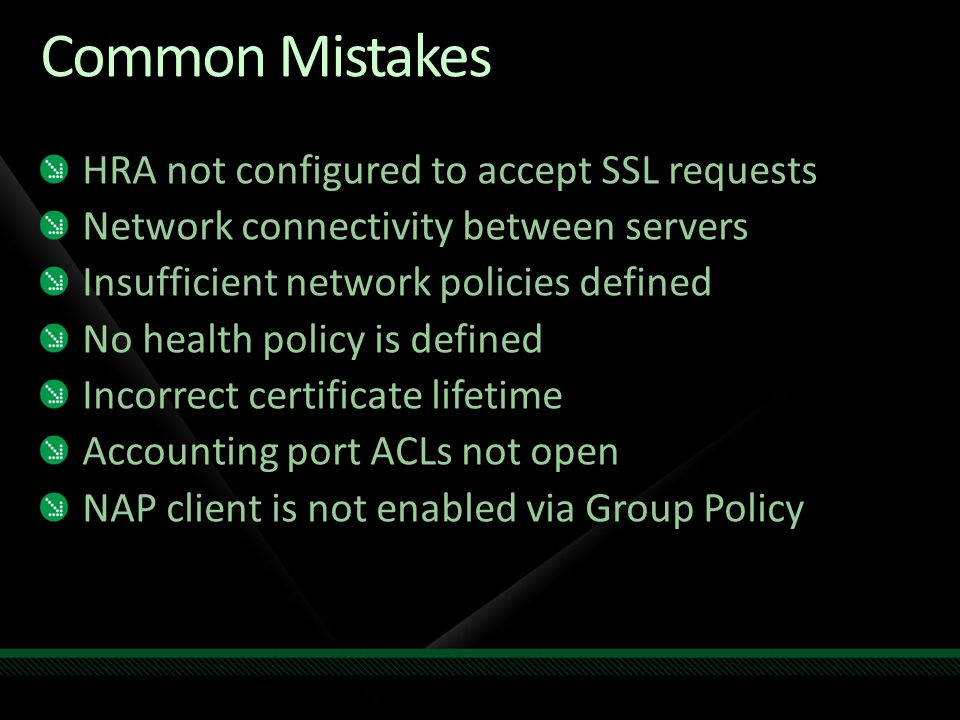 Common Mistakes HRA not configured to accept SSL requests