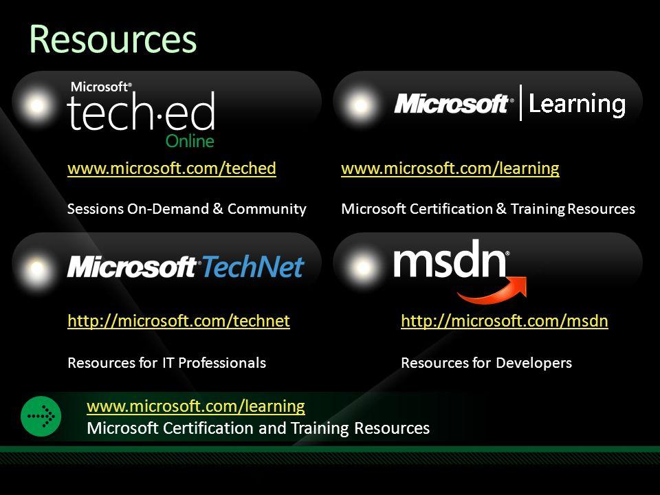 Resources www.microsoft.com/teched www.microsoft.com/learning