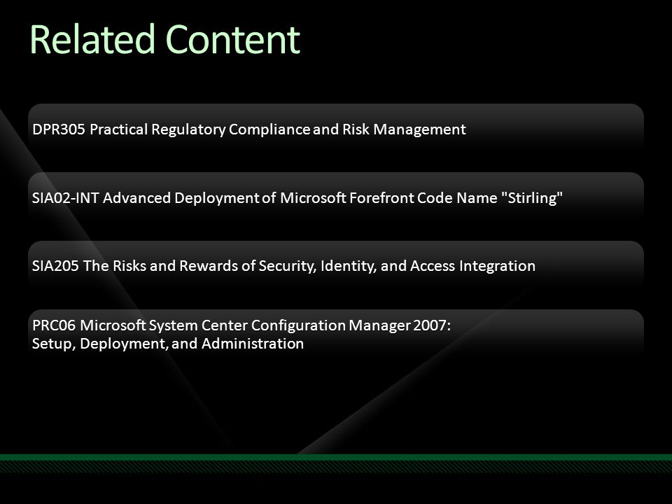 Related Content DPR305 Practical Regulatory Compliance and Risk Management.