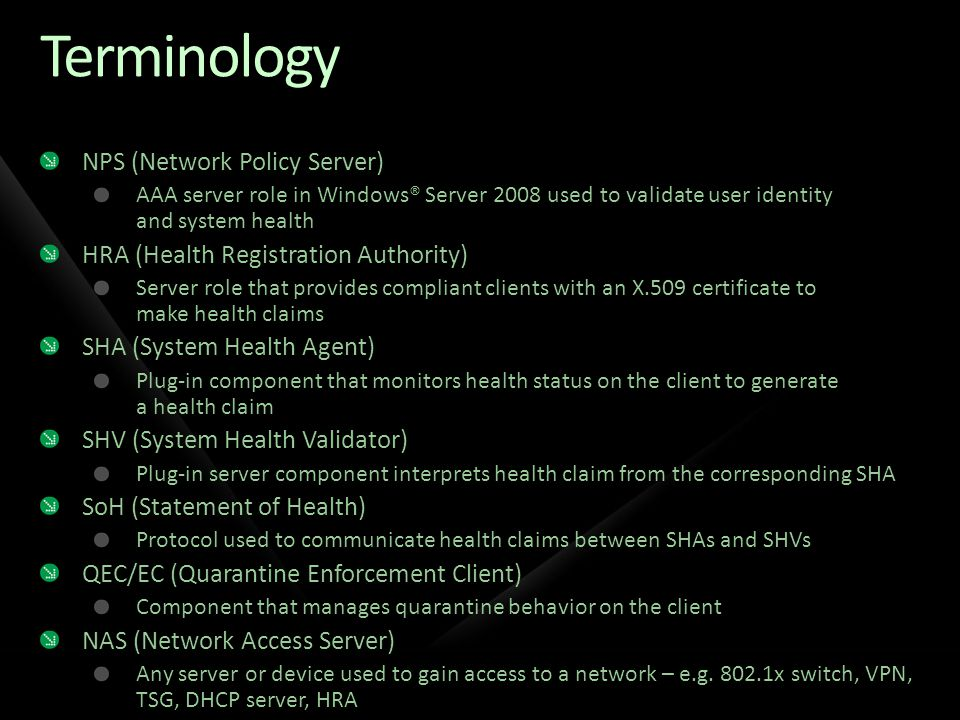 Terminology NPS (Network Policy Server)