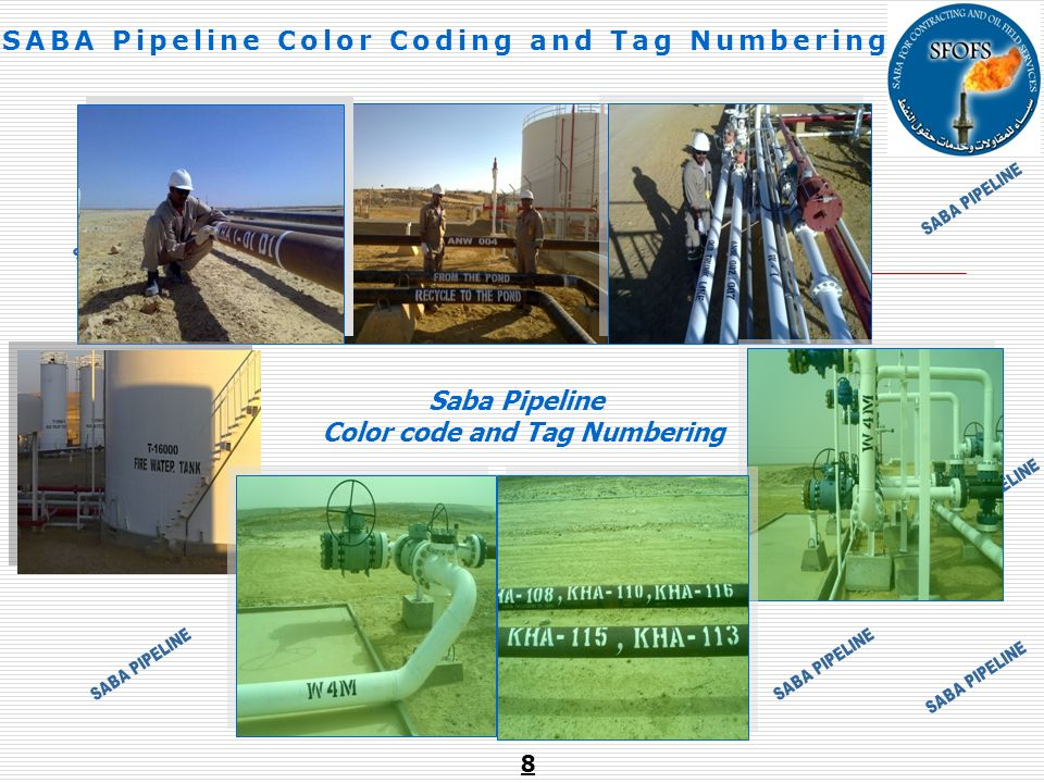 SABA Pipeline Color Coding and Tag Numbering