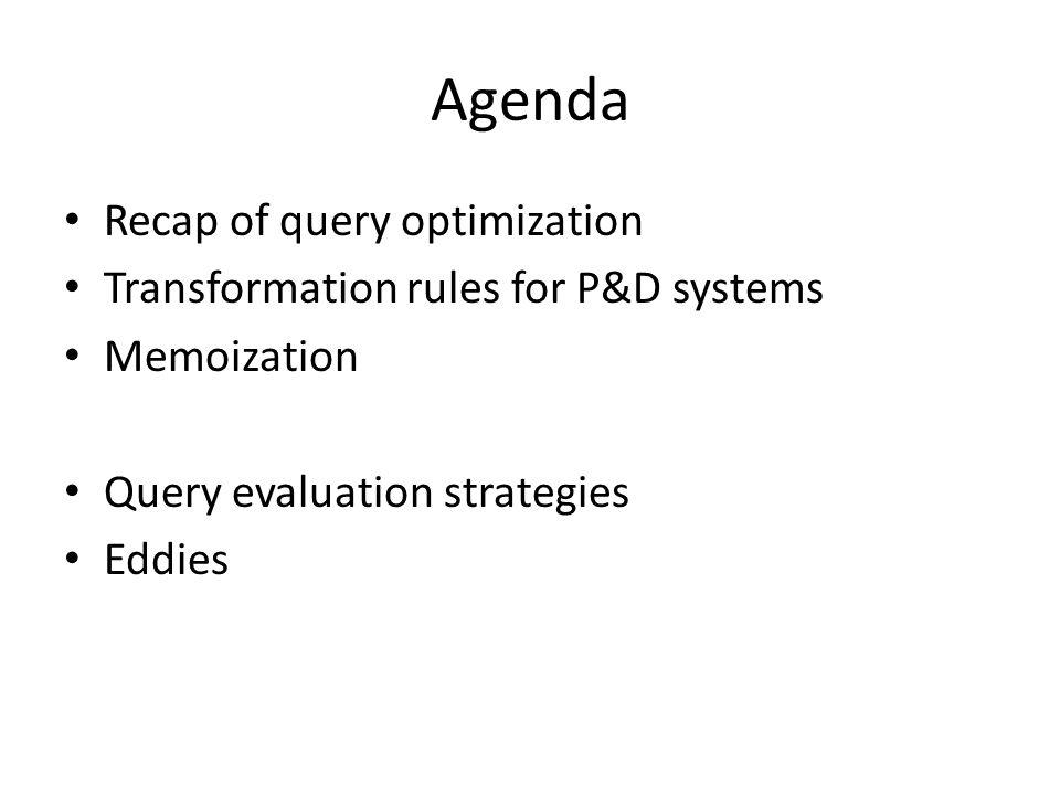 Agenda Recap of query optimization