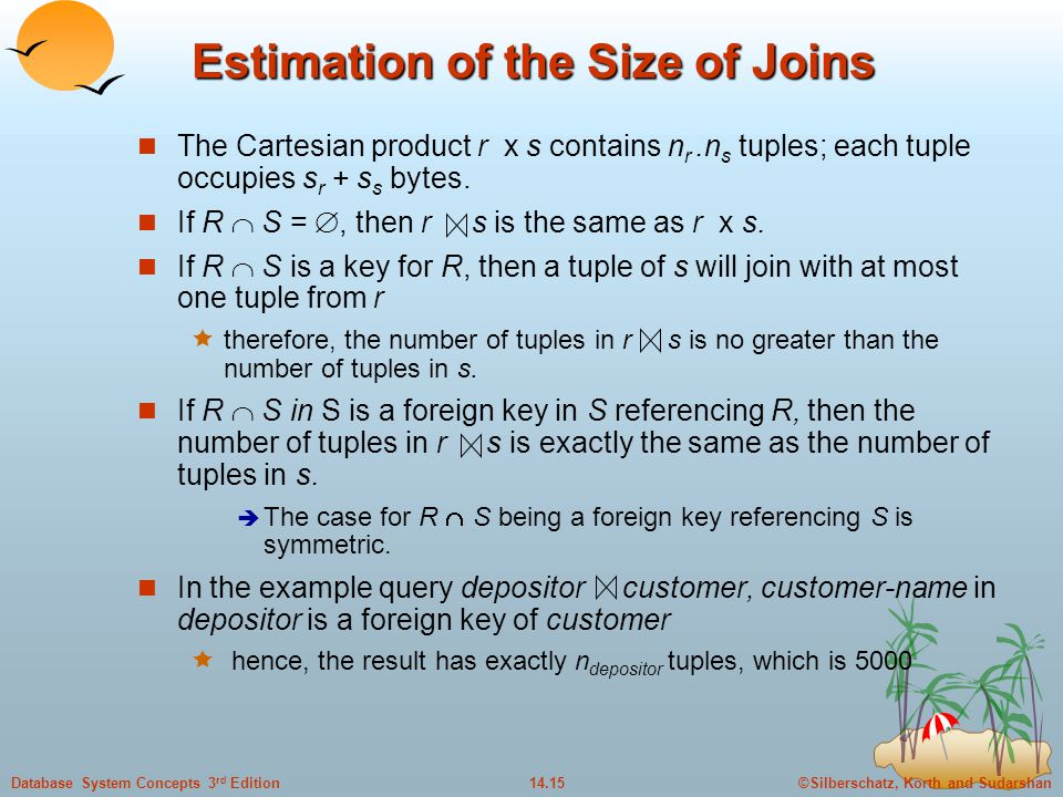 Estimation of the Size of Joins