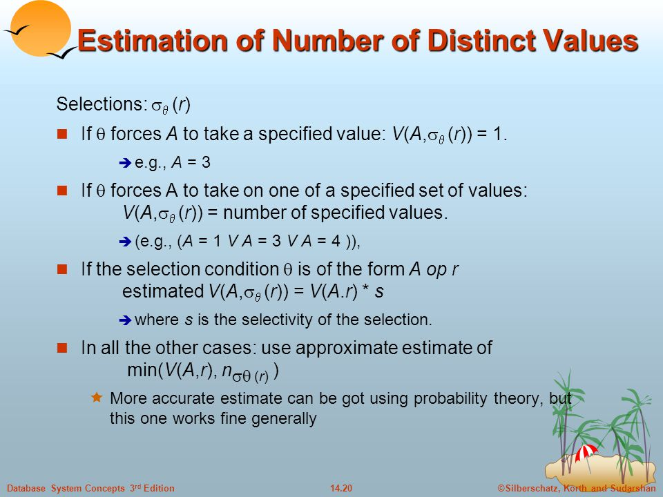 Estimation of Number of Distinct Values