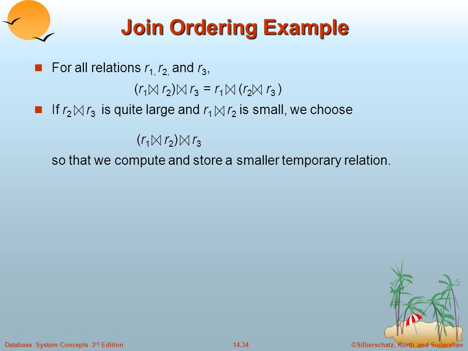 Join Ordering Example For all relations r1, r2, and r3,