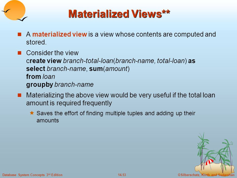 Materialized Views** A materialized view is a view whose contents are computed and stored.