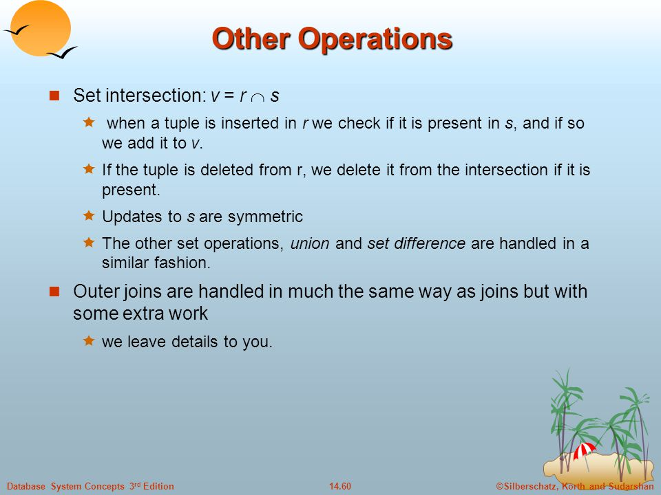 Other Operations Set intersection: v = r  s