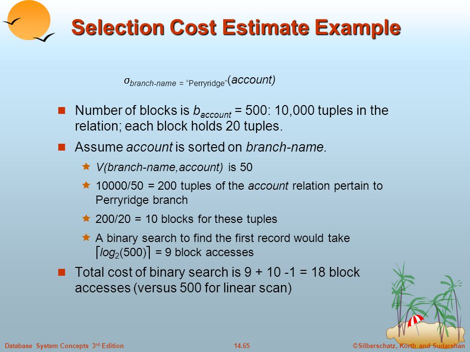 Selection Cost Estimate Example