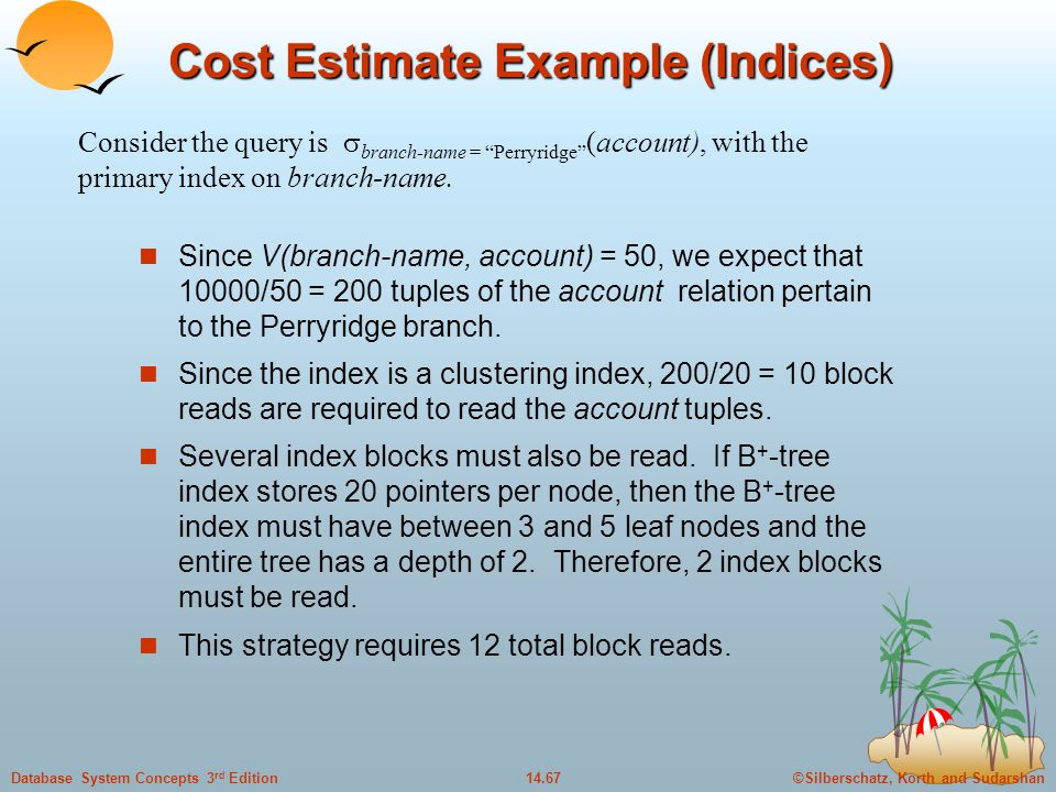 Cost Estimate Example (Indices)