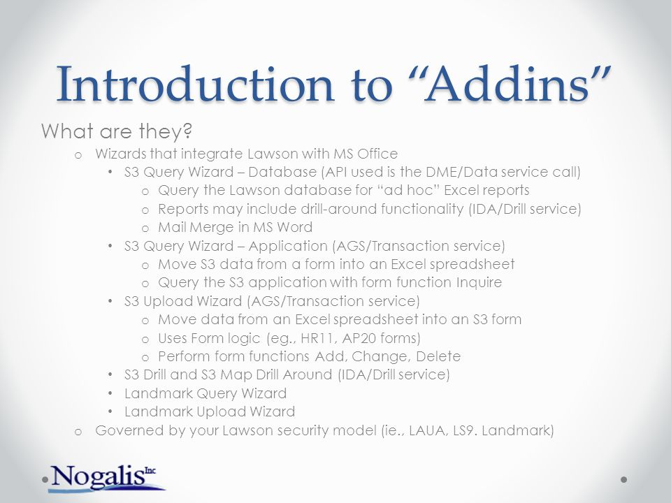 Introduction to Addins
