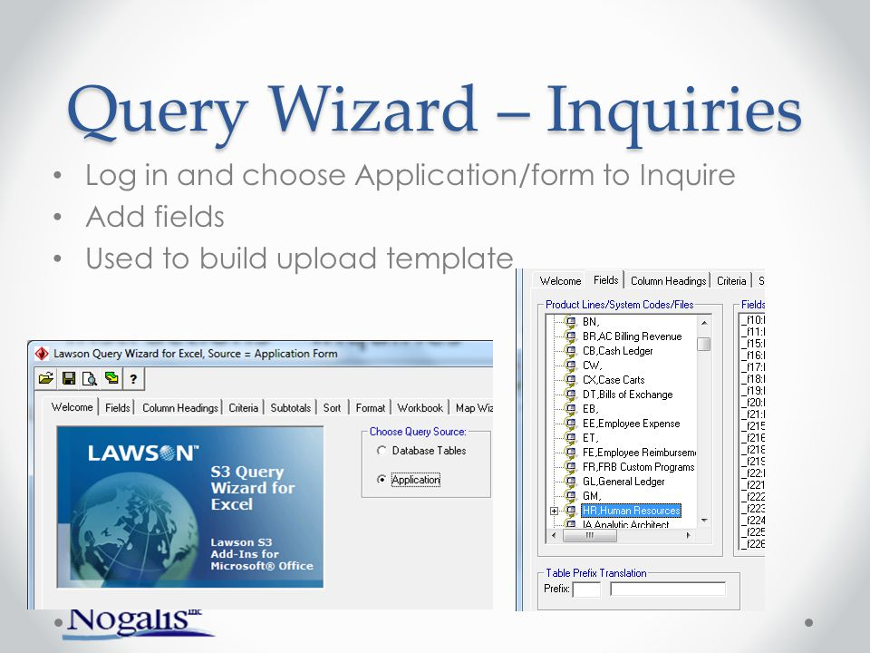 Query Wizard – Inquiries