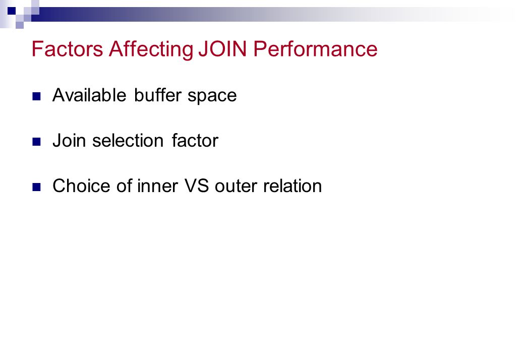 Factors Affecting JOIN Performance