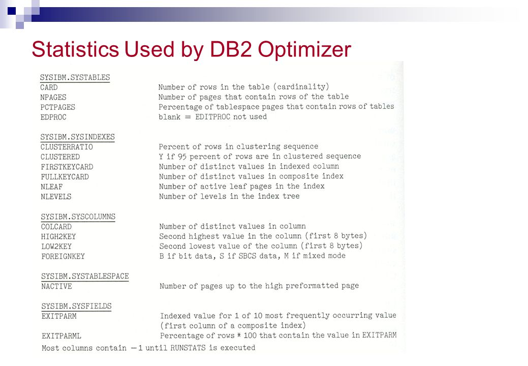 Statistics Used by DB2 Optimizer