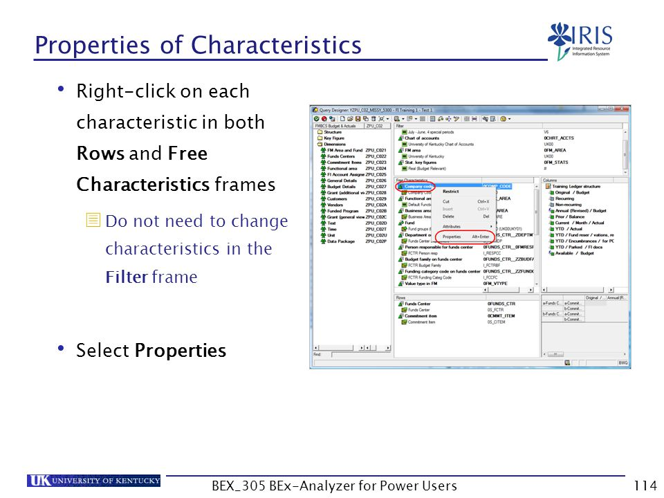 Properties of Characteristics
