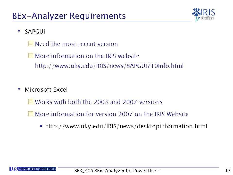 BEx-Analyzer Requirements