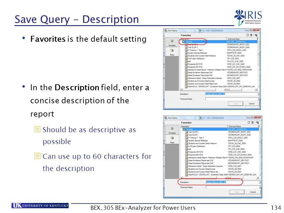 Save Query - Description