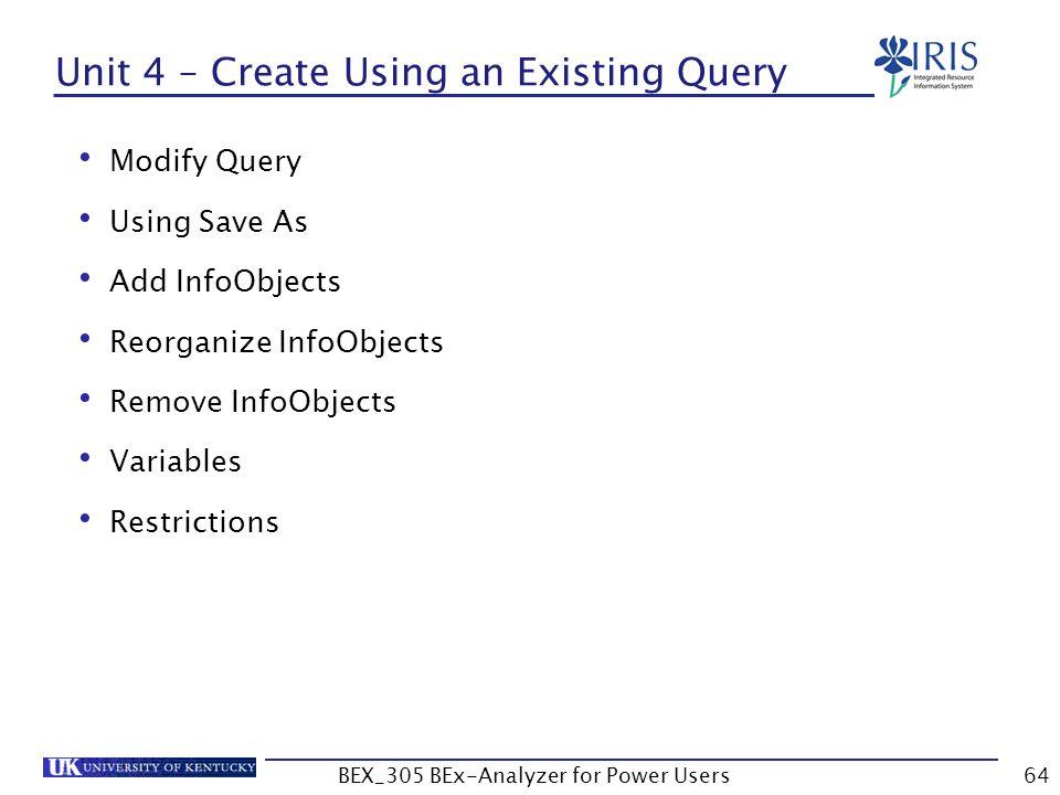 Unit 4 – Create Using an Existing Query