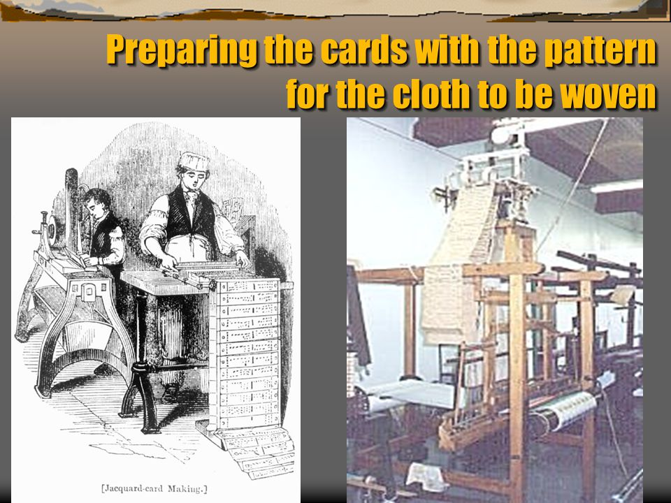 Preparing the cards with the pattern for the cloth to be woven