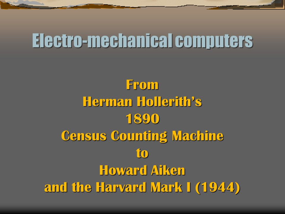 Electro-mechanical computers