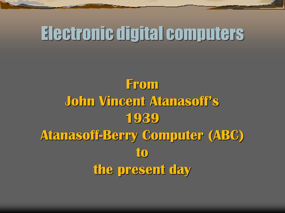 Electronic digital computers