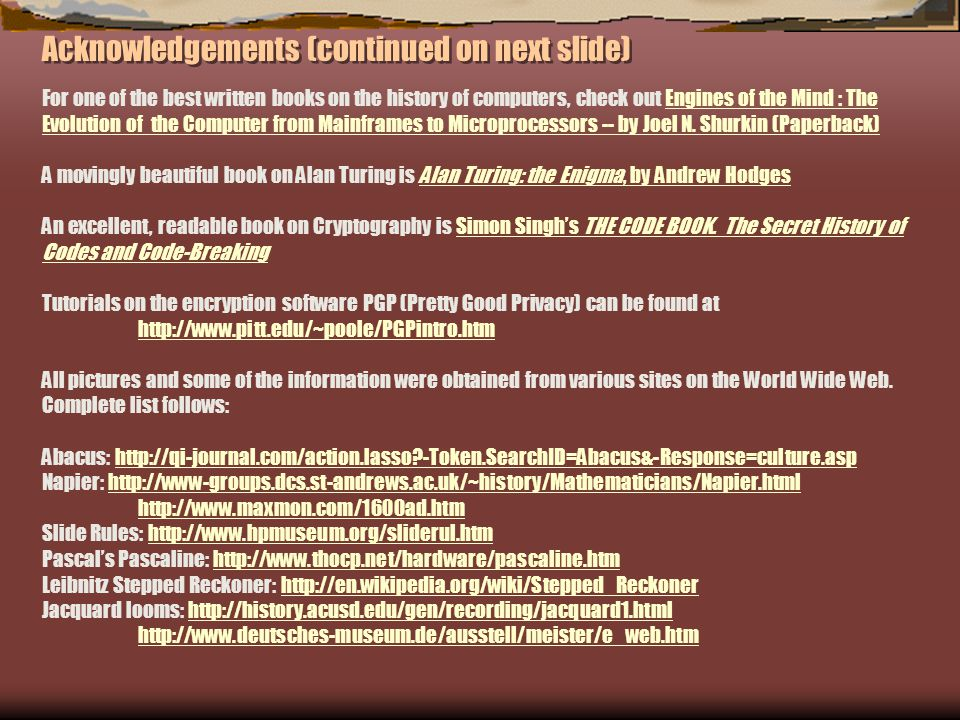 Acknowledgements (continued on next slide)