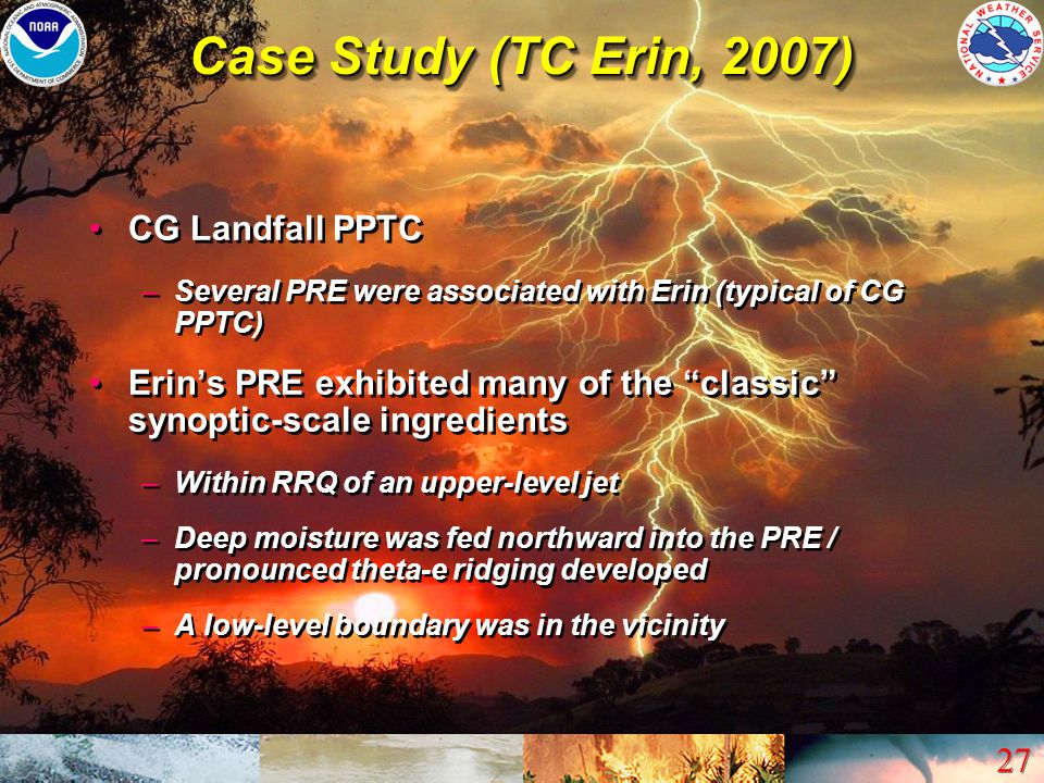 Case Study (TC Erin, 2007) CG Landfall PPTC