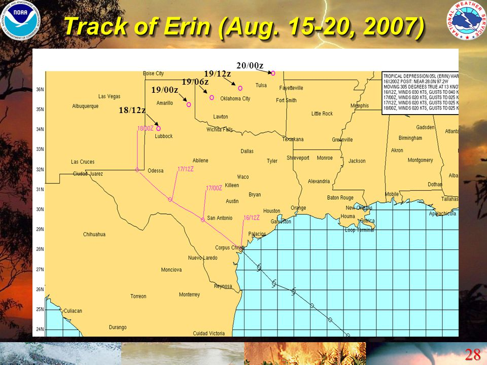 Track of Erin (Aug. 15-20, 2007) 20/00z 19/12z 19/06z 19/00z 18/12z