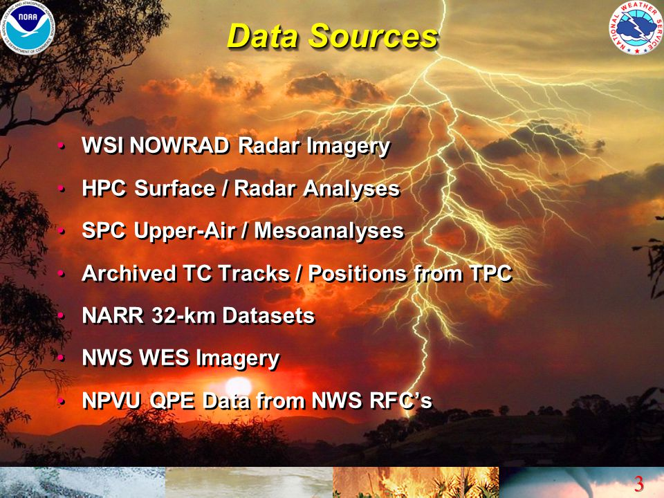 Data Sources WSI NOWRAD Radar Imagery HPC Surface / Radar Analyses