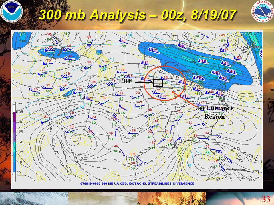 300 mb Analysis – 00z, 8/19/07 PRE Jet Entrance Region
