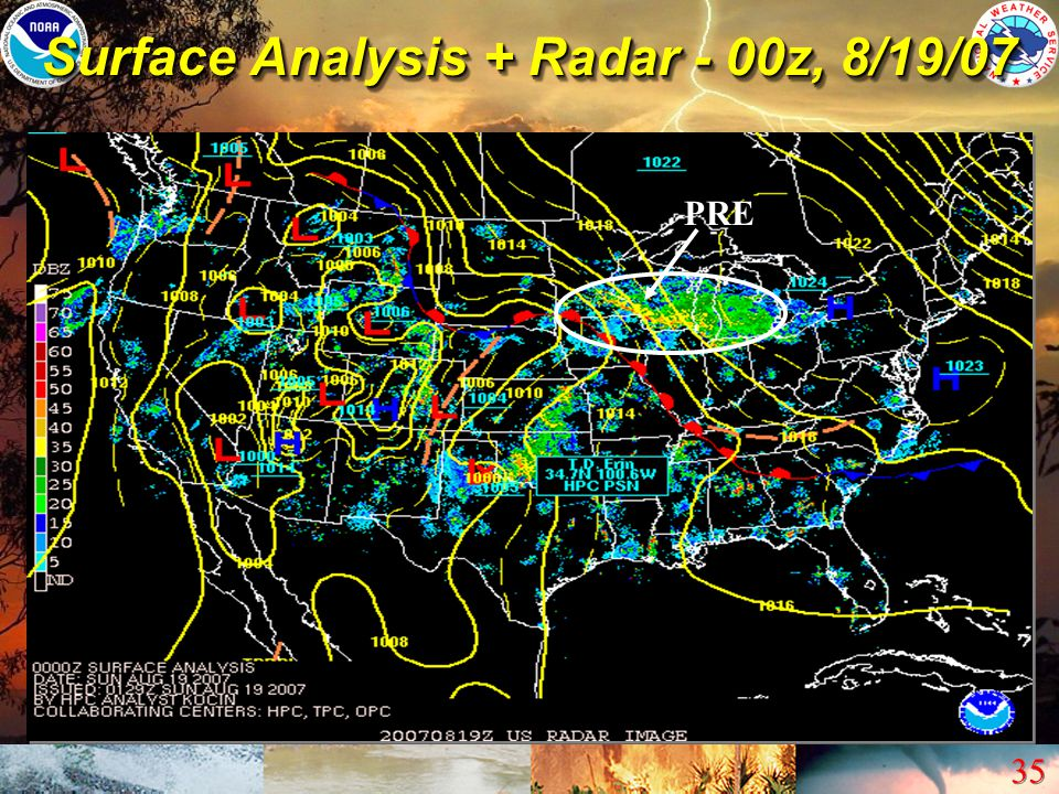 Surface Analysis + Radar - 00z, 8/19/07