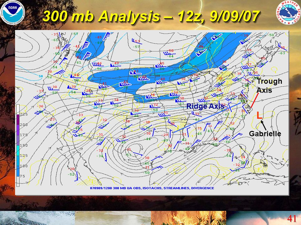 300 mb Analysis – 12z, 9/09/07 Trough Axis Ridge Axis L Gabrielle