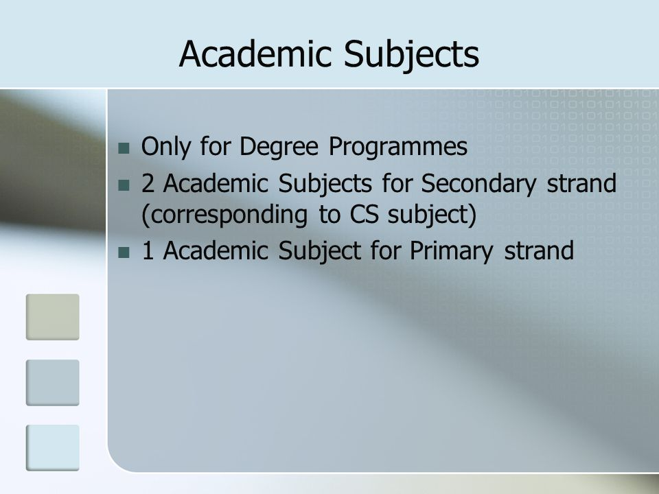 Academic Subjects Only for Degree Programmes