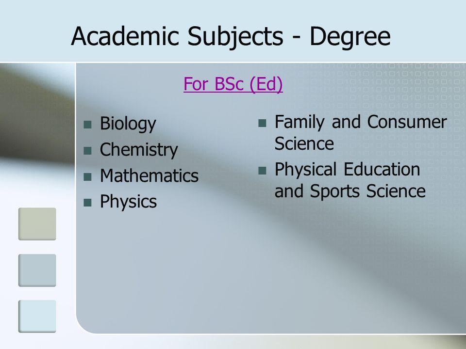 Academic Subjects - Degree