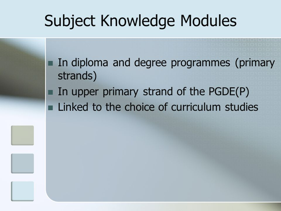 Subject Knowledge Modules