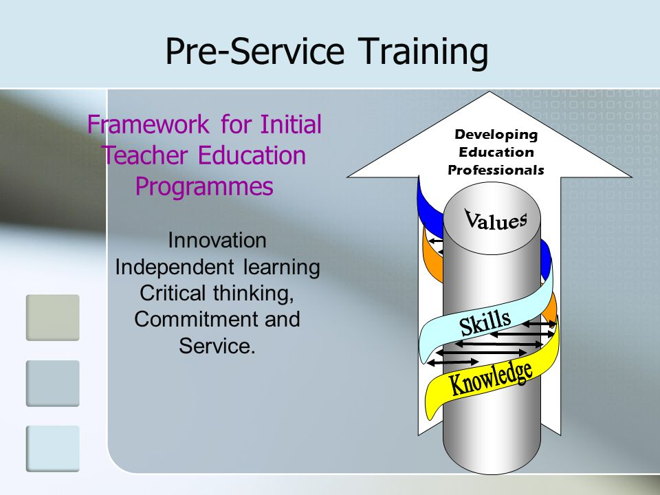 Pre-Service Training Developing Education Professionals. Knowledge. Skills. Values. Framework for Initial Teacher Education Programmes.