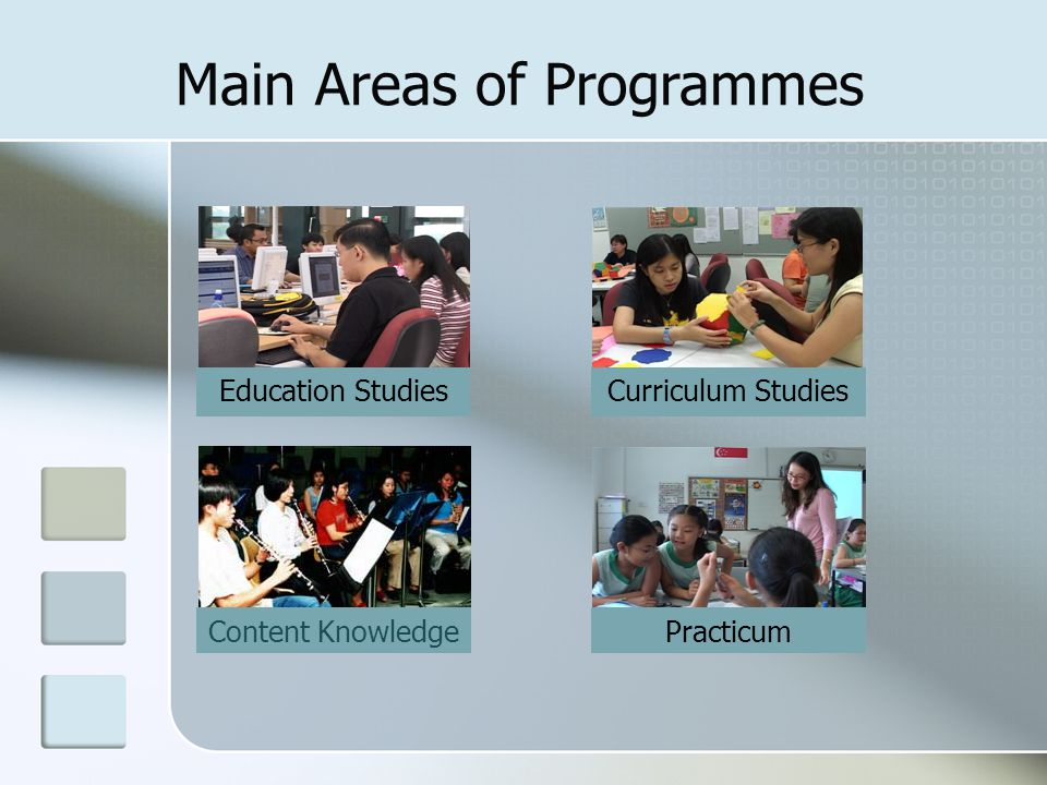 Main Areas of Programmes