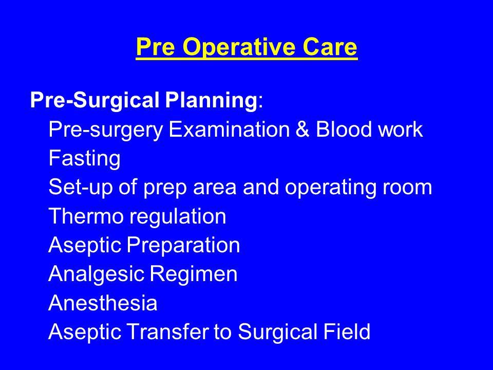Pre Operative Care Pre-Surgical Planning: