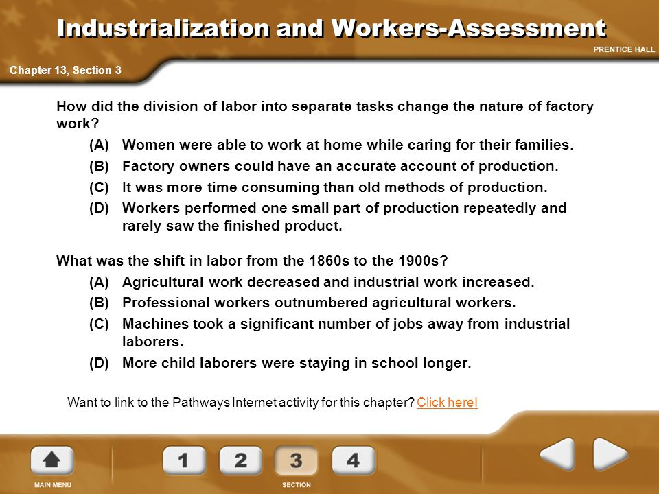 Industrialization and Workers-Assessment