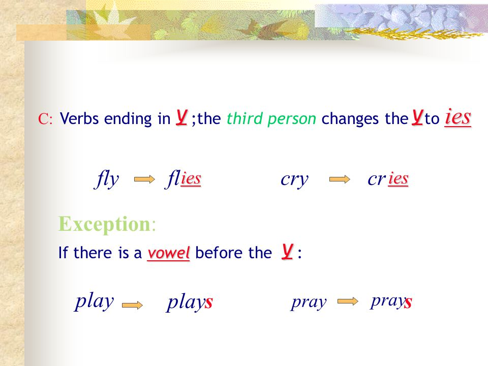 ies y y fly fl cry cr Exception: y play play s s ies ies pray pray C: